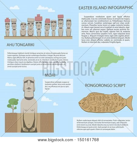 Moai on Easter island different versions of Moai statues Rongorongo scripts on wooden table include real old symbols travel infographic