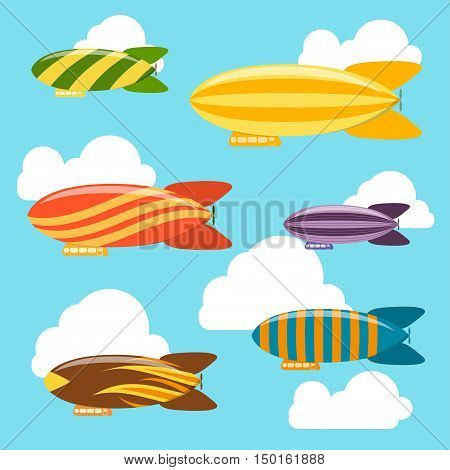 Airships in the Sky Background. Dirigible Travel Transportation. Flat Design Style. Vector illustration