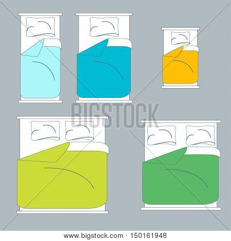 Colorful Bedding and Linen Set on a Gray Background. Top View. Vector illustration