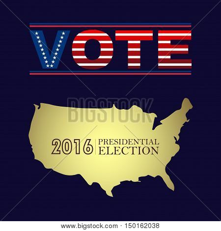 Digital vector usa presidential election 2016 with vote and country map, flat style