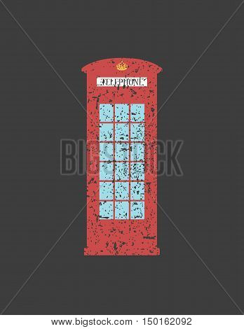 British telephone box London vintage style London word, London public call,