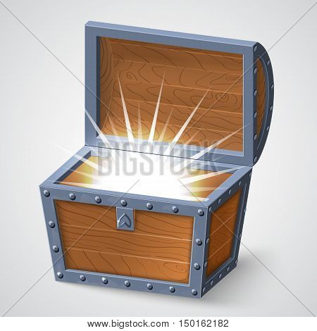 vector illustration of vintage wooden chest with open cover and glowing. isolated on white background.