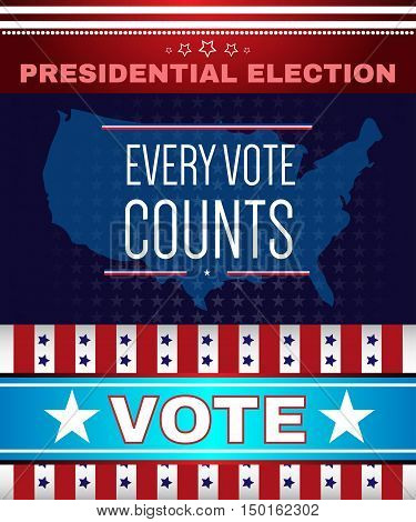 Digital vector usa presidential election with every vote counts, flat style
