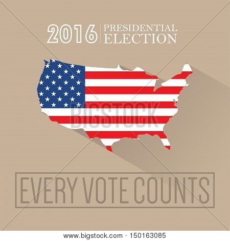 Digital vector usa presidential election 2016 with every vote counts and flag, flat style