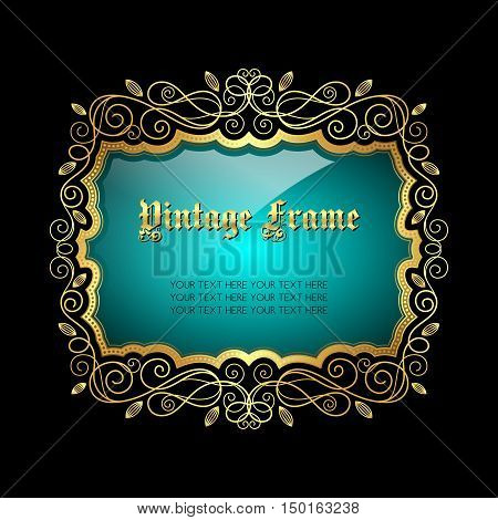 Vintage gold decorative frame with place for text. Vector illustration