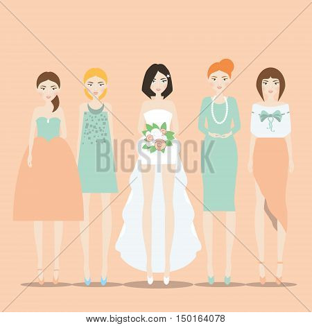 Fiancee bride in the dress with train and her bridesmaids. Vector illustration in flat style and soft colors for invitations banners greeting wedding cards bridal shower and hen parties