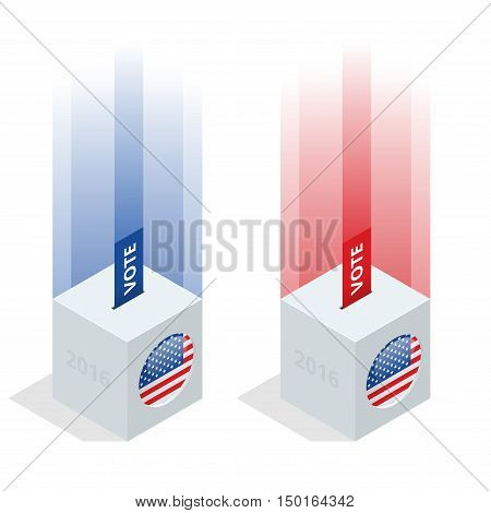 Us Election 2016 infographic. Ballot Box for an election. Party presidential debate endorsement. poster