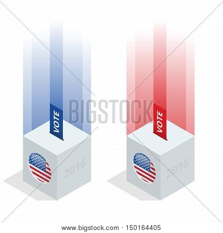 Us Election 2016 infographic. Ballot Box for an election. Party presidential debate endorsement.