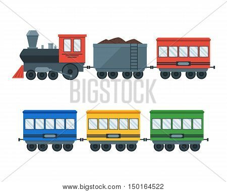 Vintage Retro Transportation Train. Locomotive with Wagons Set. Flat Design Style. Vector illustration
