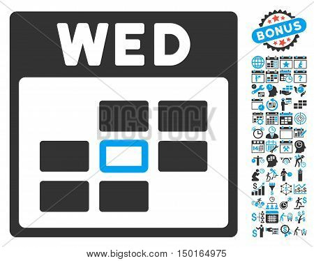 Wednesday Calendar Page icon with bonus calendar and time management clip art. Vector illustration style is flat iconic bicolor symbols, blue and gray colors, white background.