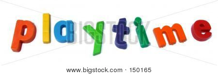 playtime is spelt out in colourful children's abc-123 magnets poster