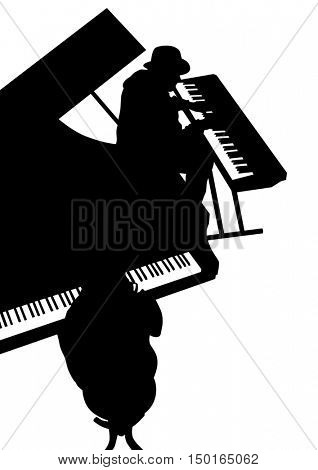 Keyboards people of jazz on white background