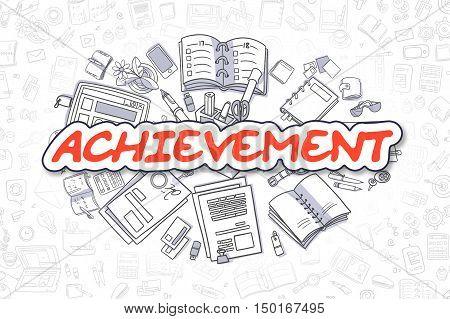 Business Illustration of Achievement. Doodle Red Word Hand Drawn Doodle Design Elements. Achievement Concept.