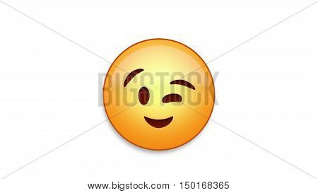 Winking emoji emoticon. Easy integration in photo and video.