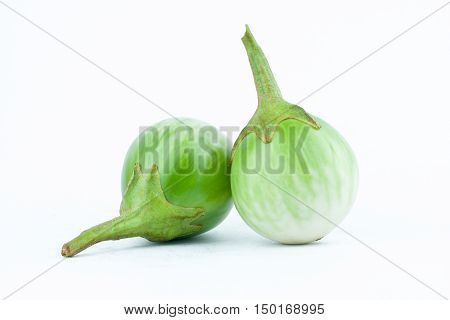 thai eggplant or Yellow berried nightshade on white background thai eggplant  vegetable isolated