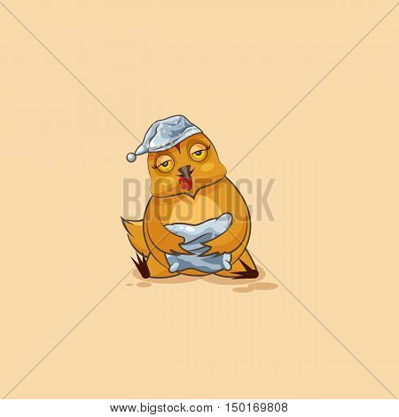 Vector Stock Illustration isolated Emoji character cartoon sleepy Hen in nightcap with pillow sticker emoticon for site, infographics, video, animation, websites, e-mails, newsletters, reports, comics
