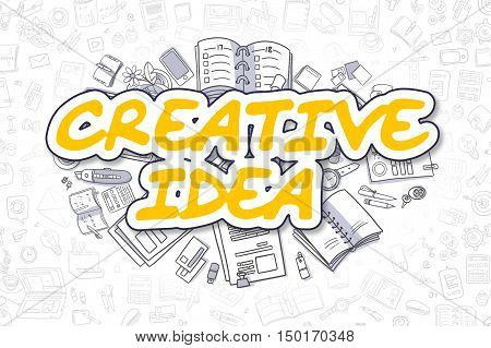 Yellow Inscription - Creative Idea. Business Concept with Cartoon Icons. Creative Idea - Hand Drawn Illustration for Web Banners and Printed Materials.