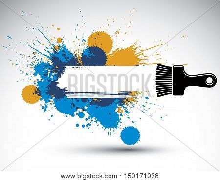 Hand-drawn vector art background created with brushstrokes and colorful ink blobs.
