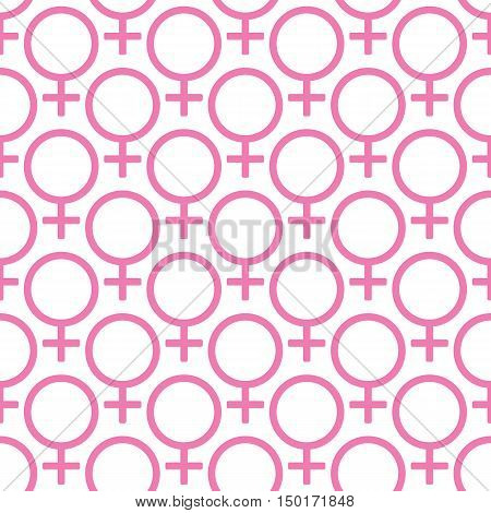 Seamless pattern with Symbol of Venus on a white background