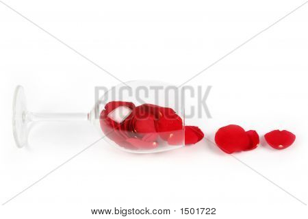 Rose Petals In A Wine Glass