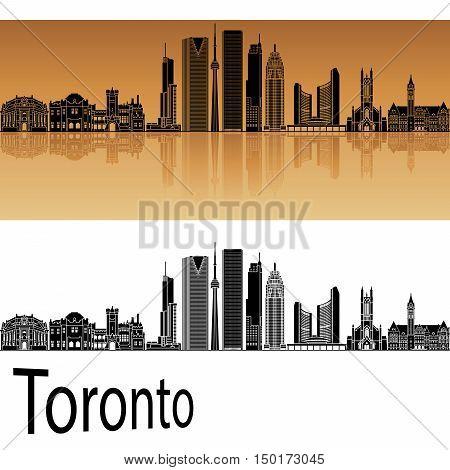Toronto V2 skyline in orange background in editable vector file
