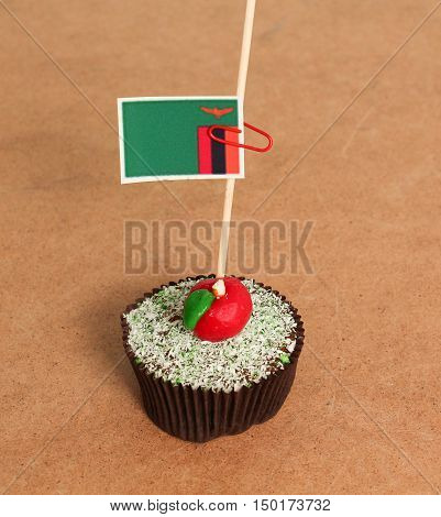 zambia flag on a apple cupcakepicture of a