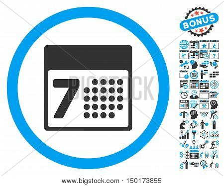 Calendar Week icon with bonus calendar and time management pictograph collection. Vector illustration style is flat iconic bicolor symbols, blue and gray colors, white background. poster