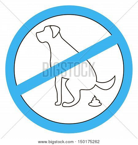 No dog pooping sign silhouette white background