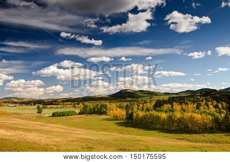 Farm views in the Alberta Foothills in fall