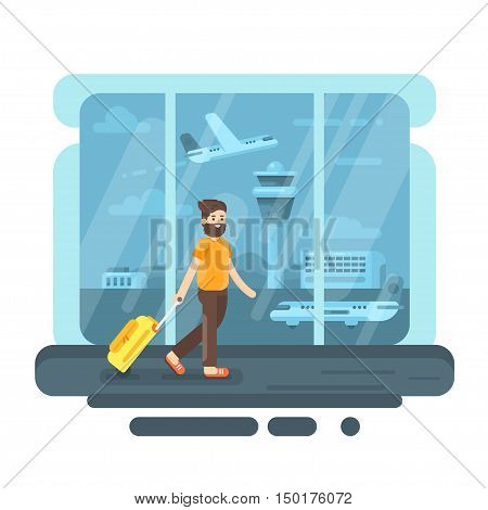 Vector flat style illustration of bearded man with bag in airport. Aircraft and control tower. Plane on the runway.