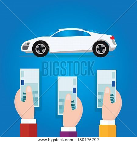car bidding auction hand offer money cash concept business symbol vector