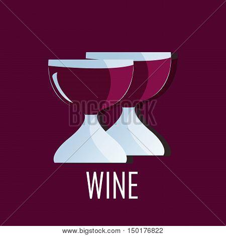 Trendy modern Logo design of glasses of wine.