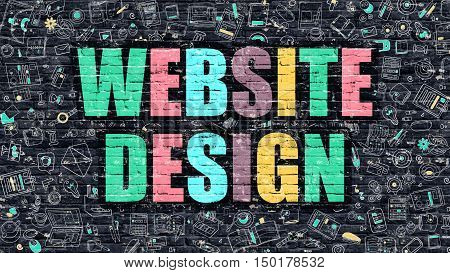 Website Design Concept. Website Design Drawn on Dark Wall. Website Design in Multicolor. Website Design Concept. Modern Illustration in Doodle Design of Website Design.