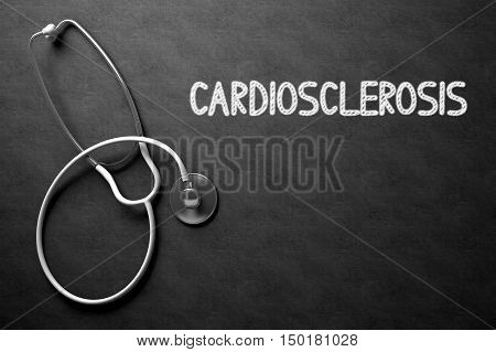 Cardiosclerosis Handwritten Medical Concept on Chalkboard. Top View Composition with Black Chalkboard and White Stethoscope on it. Medical Concept: Black Chalkboard with Cardiosclerosis. 3D Rendering.