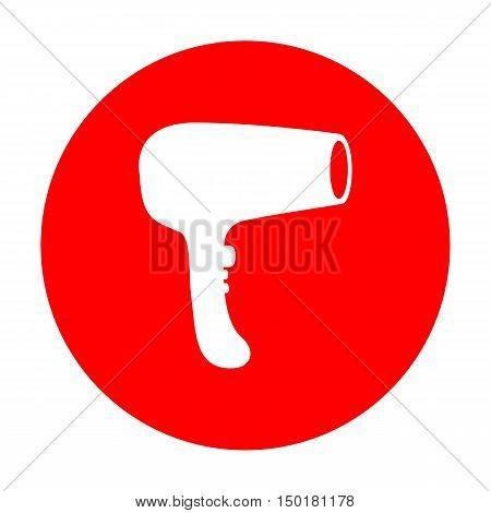 Hair Dryer Sign. White Icon On Red Circle.