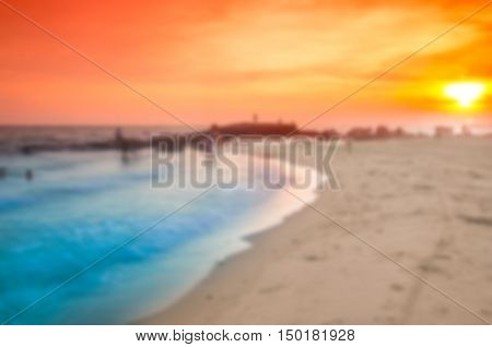 Blurred abstract sunset time  at sea  and beach