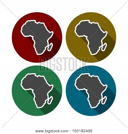 Africa Map, Africa Continent Icon set with long shadow