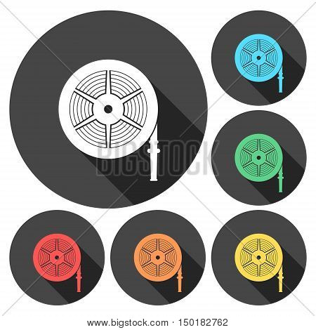 Fire hose reel vector illustration, Fire station icon