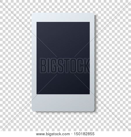 Collection of blank photo frames with adhesive tape, different shadow effects and empty space for your photograph and picture. EPS 10 illustration. Polaroid frames on wall attached with pins.