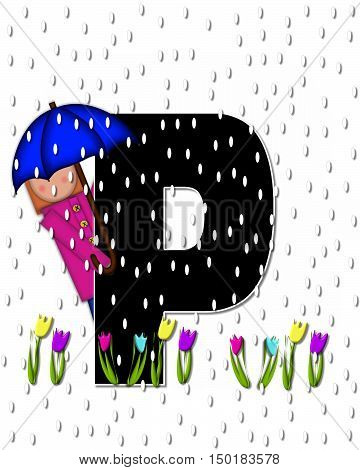 Alphabet Children April Showers P