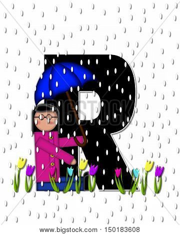 Alphabet Children April Showers R