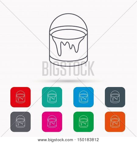 Bucket of paint icon. Painting box sign. Linear icons in squares on white background. Flat web symbols. Vector
