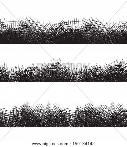 Set seamless black and white borders with pencil strokes. Vector element for frames invitations and your design