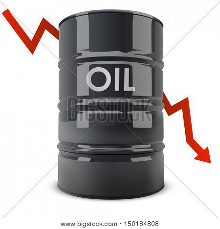 Black oil barrel with red arrow going down vector illustration. Oil price fall concept.
