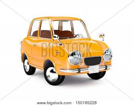 retro car orange in 60s style isolated on a white background. 3d illustration.