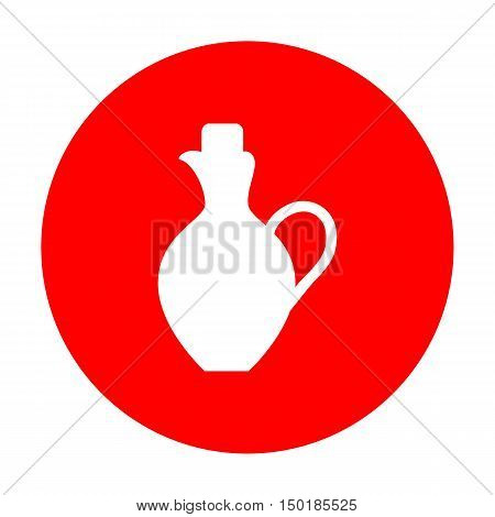Amphora Sign Illustration. White Icon On Red Circle.