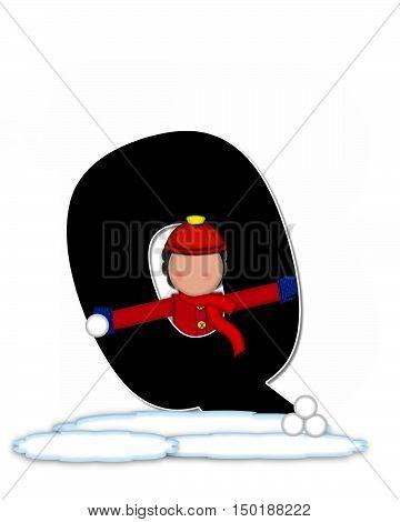 Alphabet Children Snow Fight Q
