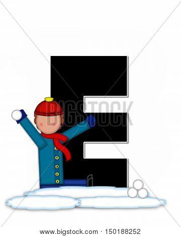 Alphabet Children Snow Fight E