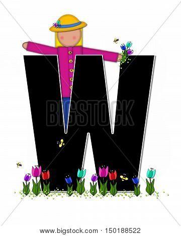 Alphabet Children Spring Tulips W