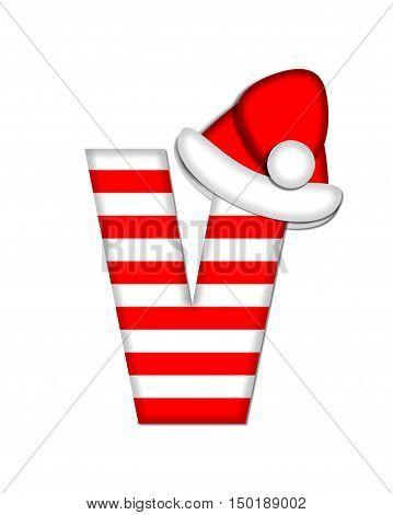 Alphabet Christmas Candy Cane V